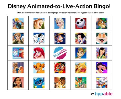 Play Our 'disney Animated-to-live-action' Bingo Game