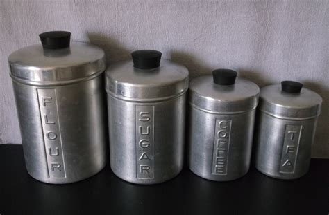 Vintage Retro Kitchen Canisters by Vintage Metal Kitchen Canisters Aluminum Flour Sugar