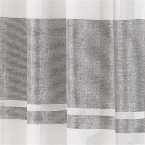 eyelet voile curtain panel metallic stripe green silver