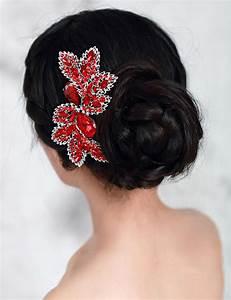 Luxury Bridal Hair Accessories Wedding Hair Comb Red