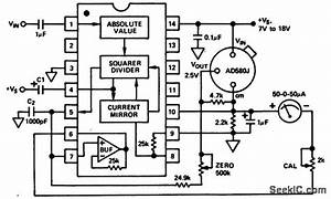 Decibel Measurement Circuit Using An Ad536 True Rms To Dc Convener Chip With Power Output To A