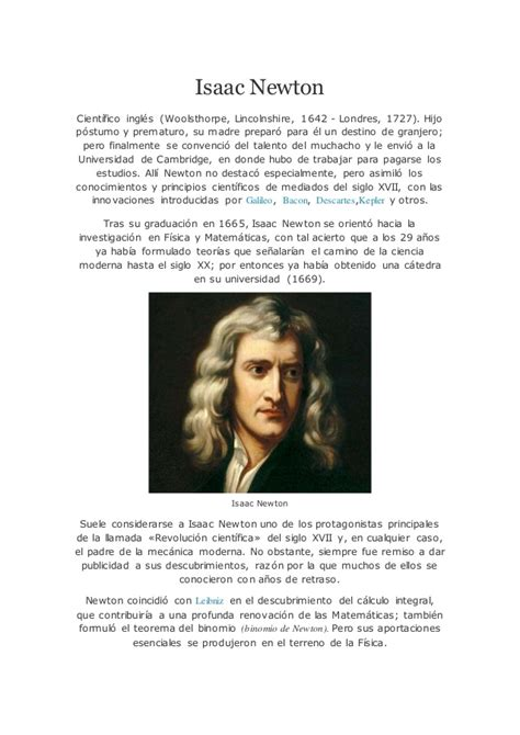Isaac Newton Resumen De Su Vida by Biografia De Isaac Newton