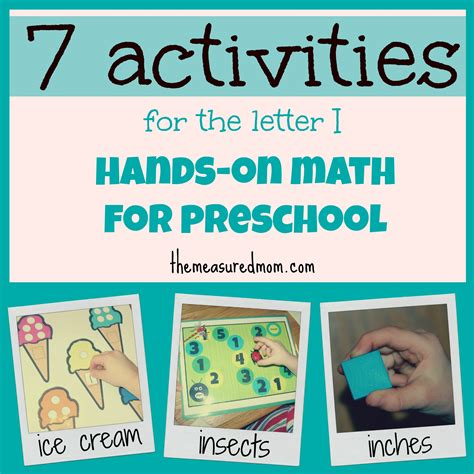 "Handson Math For Preschool The Letter ""i""  The Measured Mom"