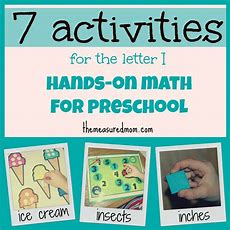 "Handson Math For Preschool The Letter ""i""  The Measured Mom"
