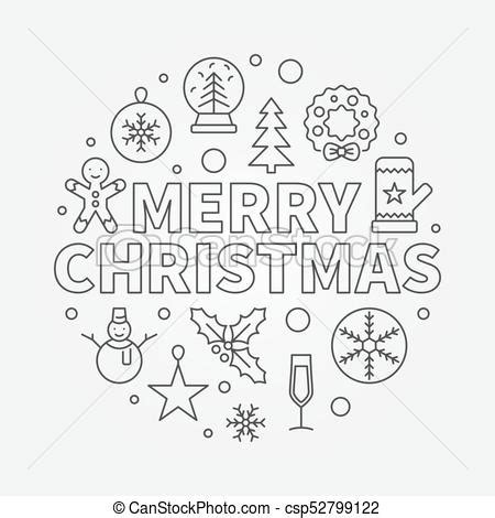 merry christmas round vector illustration concept symbol in thin line style