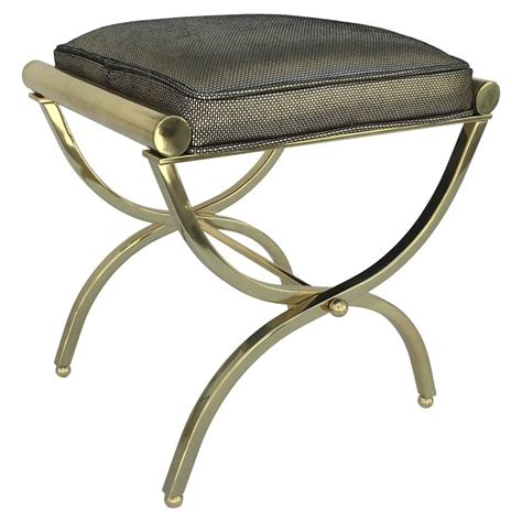 leather vanity stool polished brass and leather vanity stool by charles hollis