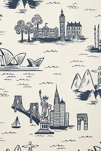 cities toile wallpaper anthropologiecom sketch