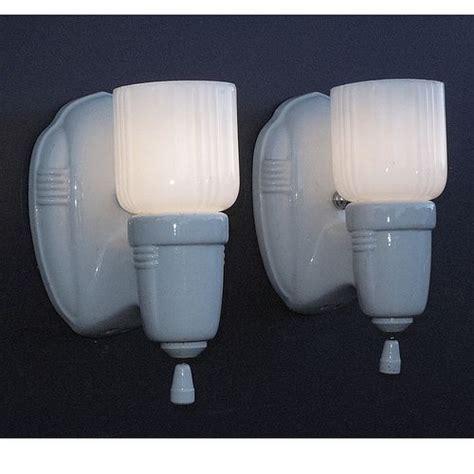 Deco Bathroom Lighting Fixtures by Vintage White Porcelain Wall Sconces Vintage Bathroom