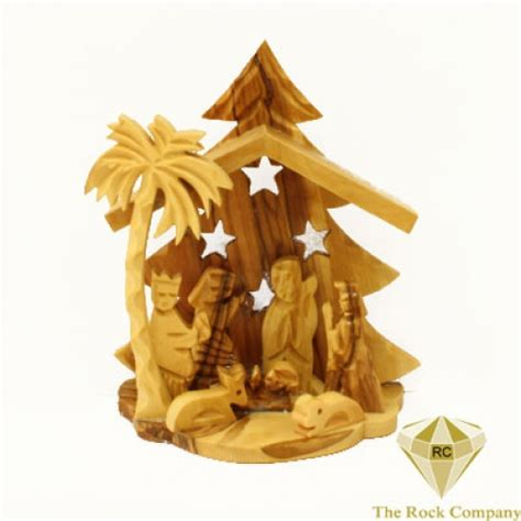 olive wood christmas tree with nativity set ornament