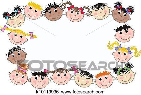 stock illustration  mixed ethnic children frame