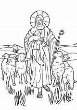 Shepherd Coloring Lord Sheep Jesus Shepherds Popular sketch template