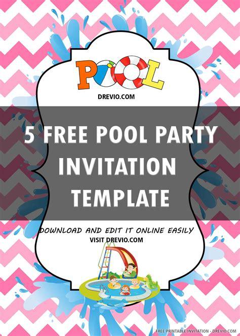 Free Printable Pool Party Invitation Templates DREVIO