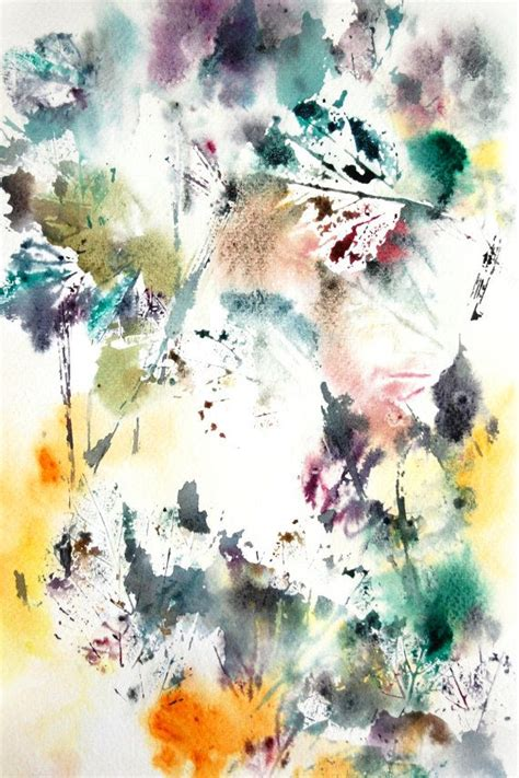 abstract leaves watercolor painting print intuitive