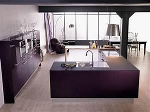 Cuisine couleur aubergine inspirations violettes en 71 idees for Idee deco cuisine avec cuisine Équipée et aménagée
