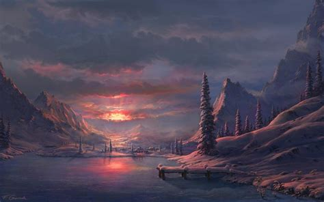 Digital Painting Wallpaper Hd by Drawing Sunset Snow Winter Trees Mountains Clouds Hd