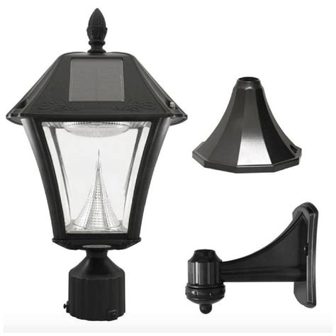 solar led black outdoor post pole wall mount light