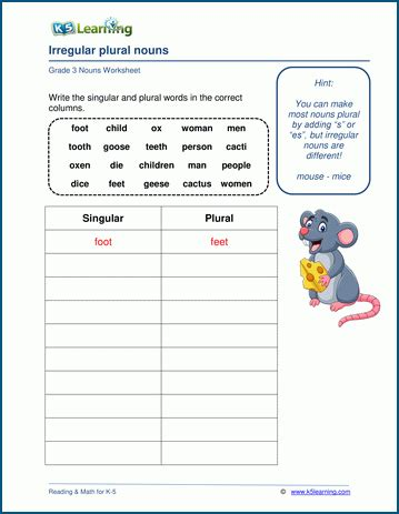 irregular plural nouns worksheets k5 learning
