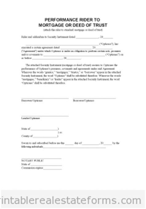 printable perf mortgage addendum lease options form