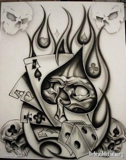 pin  dave henckel  skulls  images card tattoo