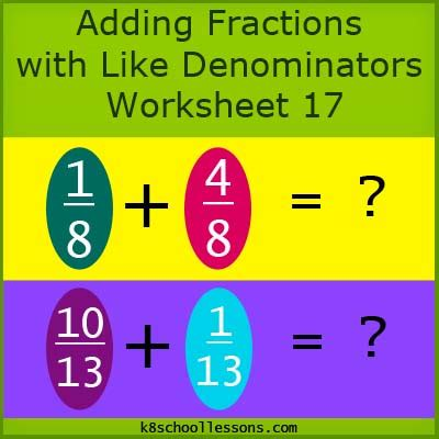 adding fractions   denominators worksheet