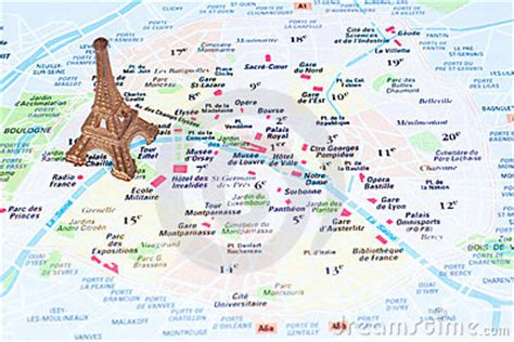 eiffel tower   map  paris editorial stock image