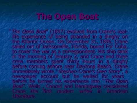 The Open Boat Summary by Stephen Crane
