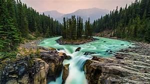Wallpaper, Jasper, National, Park, Canada, Waterfall, 5k