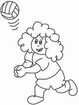 Volleyball Coloring Play Kid Curly Pages Colornimbus sketch template