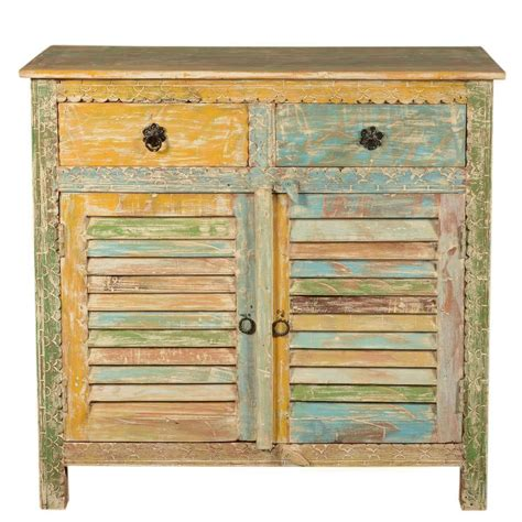 Wood Storage Cabinets With Drawers by Attica Shutter Door Rustic Reclaimed Wood 2 Drawer Storage