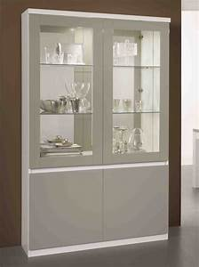 Vitrine Salle à Manger : vitrine 2 portes roma laqu bicolore blanc gris ~ Teatrodelosmanantiales.com Idées de Décoration