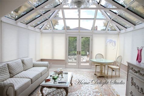Ceiling Blinds For Sunrooms by Wired Motorized Douglas Blinds Traditional