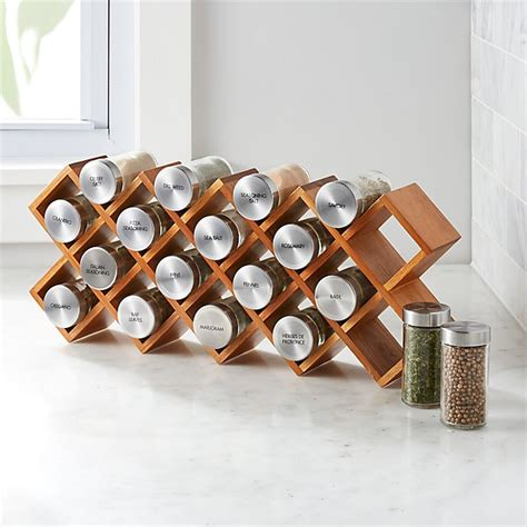 designer spice rack 18 jar acacia wood spice rack crate and barrel