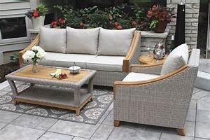 Wicker natural teak wood sofa with sunbrella cushions for Outdoor sectional sofa sunbrella