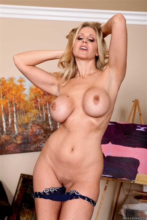 happy babe julia ann taking off lingerie and showing big
