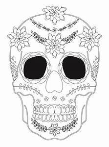 Dessin Qui Fait Tres Peur : sugar skull coloriage halloween a imprimer qui fait peur sugar skulls day of the dead ~ Carolinahurricanesstore.com Idées de Décoration