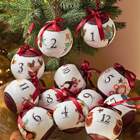 buy 12 days of christmas baubles from museum selection
