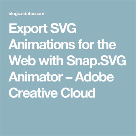 Animated svg exporter for flash pro / adobe animate#. Export SVG Animations for the Web with Snap.SVG Animator ...