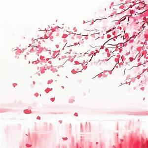 Papier peint arbre cerisier japonais collines • PIXERS fr