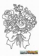 Coloring Bouquet Pages Flowers Roses Bouquets Rose Popular Coloringhome sketch template