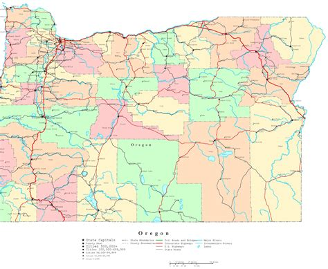 oregon counties map  cities  travel information