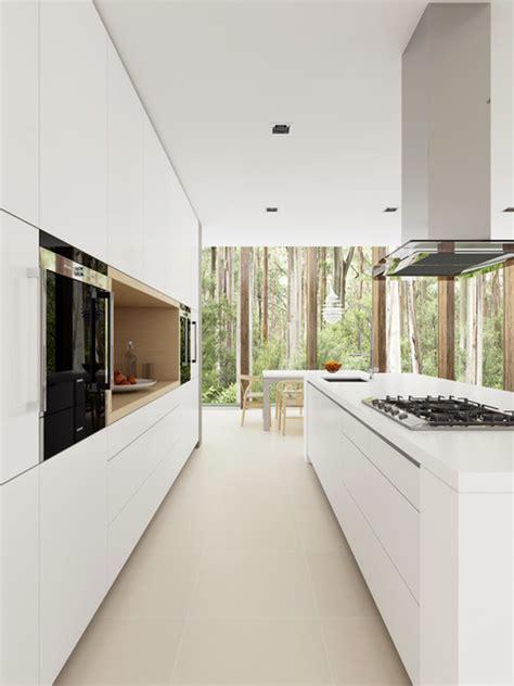 White Minimalist Modern Kitchen sydney by Dan