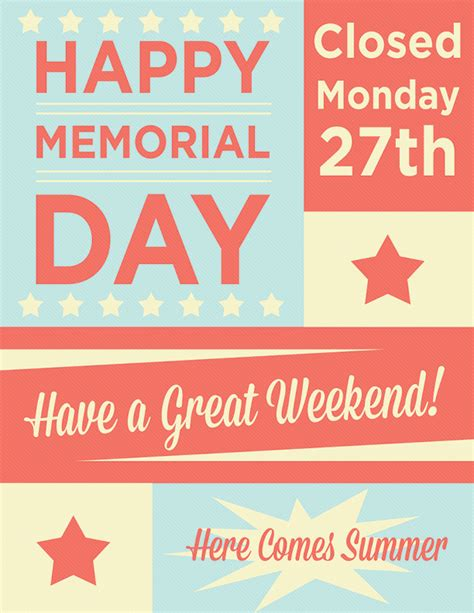 memorial day closed sign template closed for memorial day printable sign just b cause