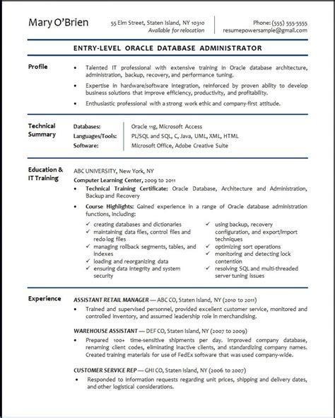 oracle dba resume format oracle database administrator sle resume resumepower