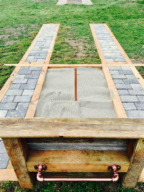Horseshoe Pit Dimensions Backyard by Paver Borders On A Horseshoe Pit Ringer Room Set Up