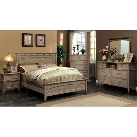 furniture  america seashore  piece weathered oak bed