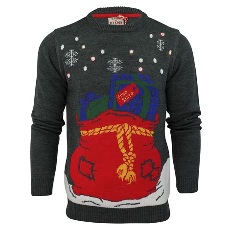 mens jumper novelty knit led lights jumpers