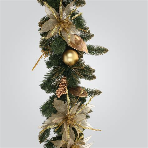 uk gardens 6ft pvc gold and green christmas garland with