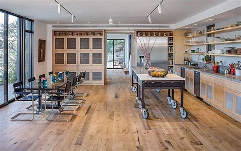 industrial style kitchen island dramatic cliff dwelling in by specht harpman architects 4679