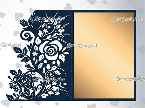 roses wedding invitation card laser cut template