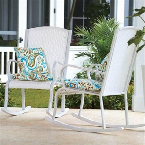 outdoor white resin wicker rocker rocking chair deck patio